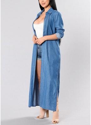 Women Denim Trench Coat Open Front Waterfall Long Sleeve Split Casual Outwear_3