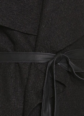 Autumn Winter Women Jacket Coat Large Lapel PU Leather Splice Overcoat Long Sleeve Casual Outerwear Black_5