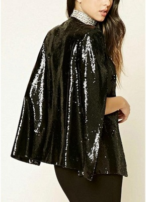 Women Sequins Blazer Cape Cloak Open Front Split Poncho Cardigan Jacket Coat Casual Tops Outwear_4