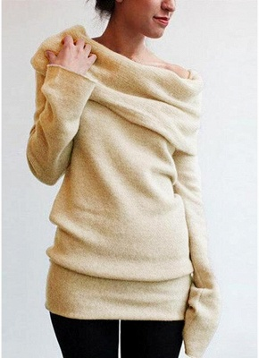 Women Off the Shoulder Sweater Wool Cowl Neck Long Sleeve Knitted Pullover_2