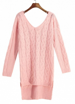 size V Neck High Low Cable Knit Sweater Dress_5