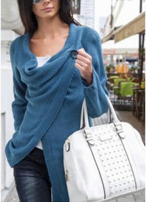 Knitwear Solid Color Asymmetric Long Roll Up Sleeve Women's Sweatershit_3