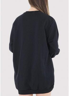 Fashion Women Plain Baggy Long O Neck Pockets Jumper Long Sweatshirt_3