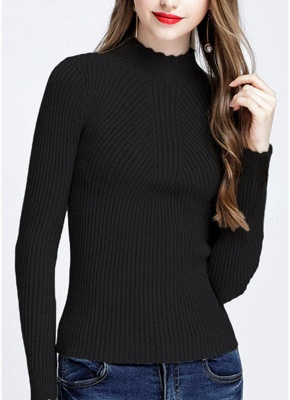 Fashion Women Turtleneck Long Sleeve Ruffled Knitting Sweater_7