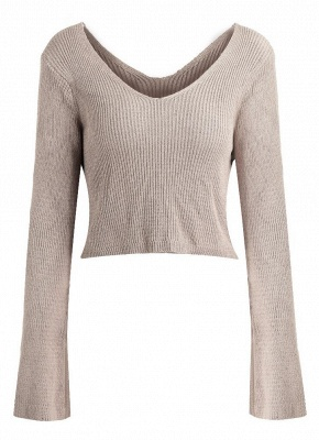 Women Sexy Off The Shoulder cropped V Neck Flare Sleeve Pullover Knitwear_2