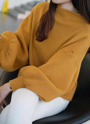 Women High Neck Bat Lantern Sleeve Knitted Sweater_2