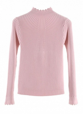 Fashion Women Turtleneck Long Sleeve Ruffled Knitting Sweater_2
