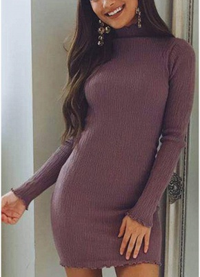 Slim Bodycon Dress High Neck Long Sleeve Knitted Elastic Sweater Party Night Dress_3