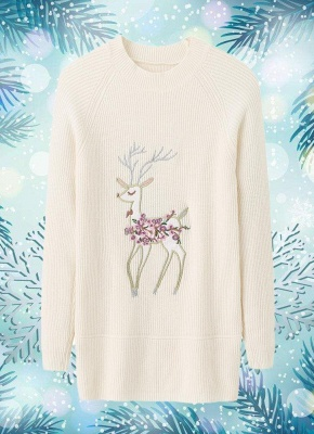 size Christmas Women Knitted Pullovers Long Sleeve Reindeer Embroidered Sweater_1