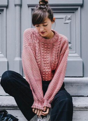 New Women Twist Solid Color Long Sleeve Loose Pullover Knitted Sweater_5