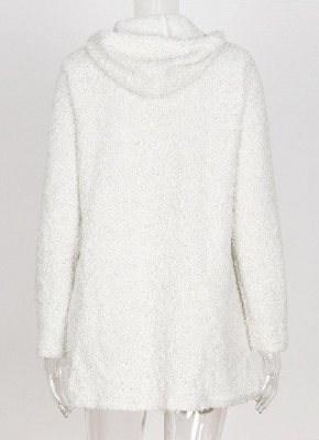 Fashion Women Fleece Hooded Cardigan Open Front Long Sleeve Solid Warm Hoodie Outerwear Loose Sweater Coat_8