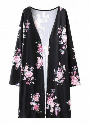Fashion Long Cardigan Front Floral Print Long Sleeves Women's Outerwear_3