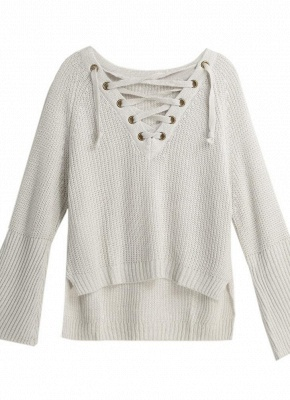 Autumn Winter Sweater Flare Sleeve Lace Up V-Neck Women's Pullover_6