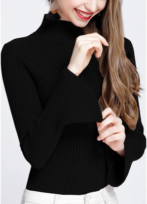 Fashion Winter Women Ribbed Flare Sleeves Stand Collar Women's Sweater_2