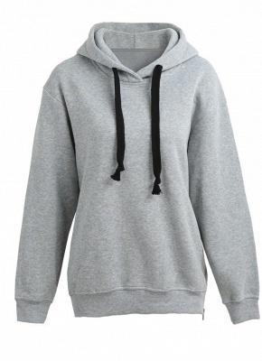 Fashion Side Zipper Hooded Neck Drawstring Long Sleeves Women's Hoodies_3