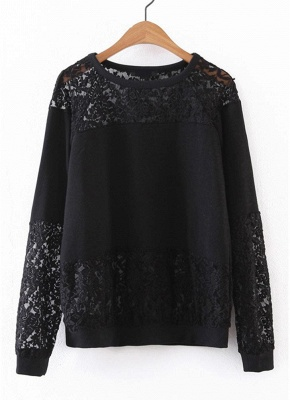Women Sweatshirt Sheer Lace Insert Raglan Long Sleeves Loose Oversized_1