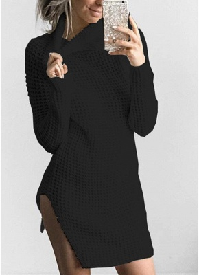 Women Casual Winter Solid Knitted Sweater Dress_4