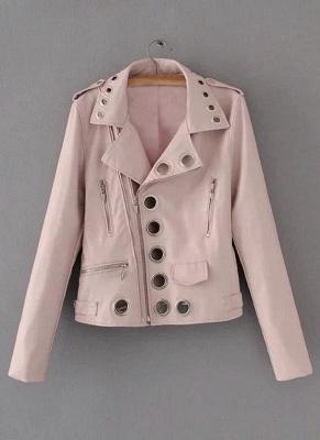 Fashion Hollow Out Leather Slim Hole Short Coat Women's Jacket_9