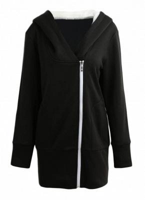 Women Autumn Winter Warm Coat Zipper Outerwear Hooded Sweatshirts_2