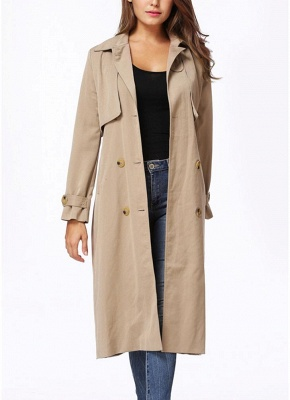 Women Winter Lined Turn-down Collar Double-breasted Button Closure Windbreaker Coat_3