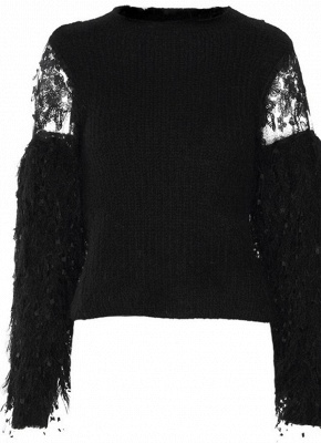Knitted Lace Fluffy Faux Fur O-Neck Long Sleeve Sweater_3