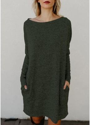 Women Loose Knit Sweater Dress Long Sleeves Pockets Party Mini Straight Dress_6