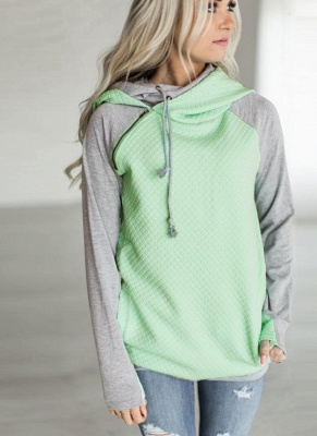 Fashion Women Hoodie Sweatshirts Contrast Color Long Sleeve Drawstring Casual Warm Pullover Hooded Tops_4