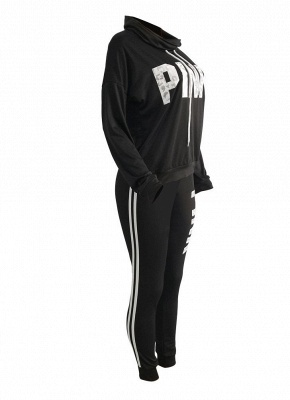 Women Sweatershirt Pants Letter Print Turtleneck Splicing Side Sport Set_5