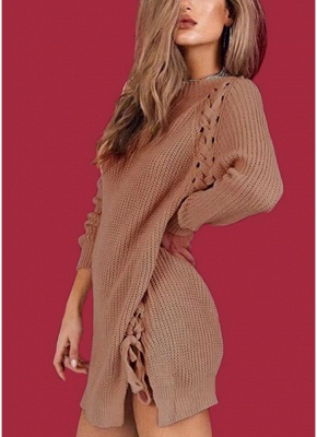 Sexy Winter Women Lace Up Knit Sweater O Neck Long Sleeve Split Knitted Pullover Jumper Knitwear_1