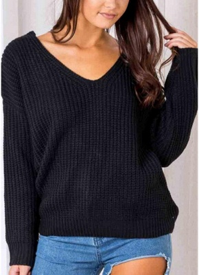Anself Backless Knitting Pullover Lace Up Loose Sweater_6