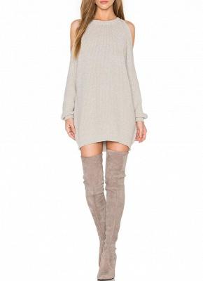 O-Neck Long Sleeve Tunic Women's Sweater Dress_1
