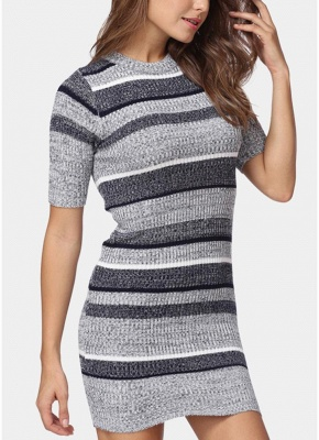 Bodycon Half Sleeves Women's Sweater Dress_3