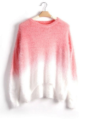 Gradient Fluffy Mohair Batwing Sleeve Loose Sweater_4