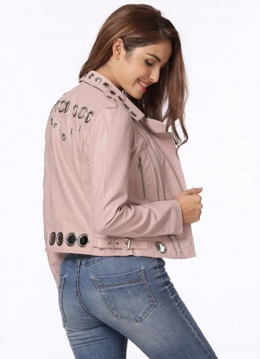 Fashion Hollow Out Leather Slim Hole Short Coat Women's Jacket_7