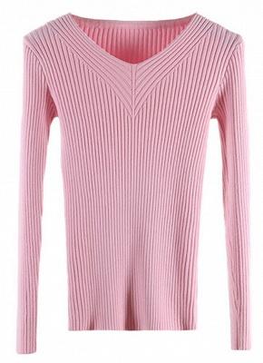 Fashion Women Basic Solid Elastic Knitwear_3