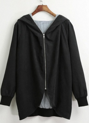 Autumn Winter Hoodies Zip Up Long Sleeve Plus Size Loose Women's Jacket_4