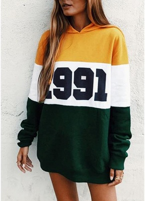 Fashion Women Hoodie Sweatshirts Number Color Block Long Sleeve Casual Loose Pullover Hooded Tops_1