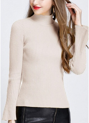 Fashion Winter Women Ribbed Flare Sleeves Stand Collar Women's Sweater_1