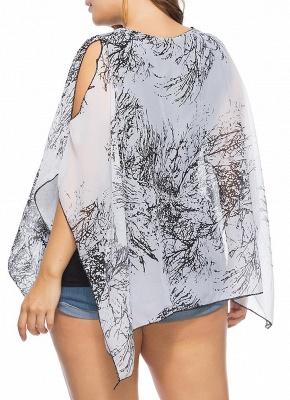 Women Plus Size Chiffon Tops Cold Shoulder Contrast Print Scarves Blouses Tees_3
