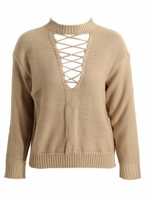 Knitted Hollow Out Pull Over Lace Up Dropped Shoulder Long Sleeve Sweater_5