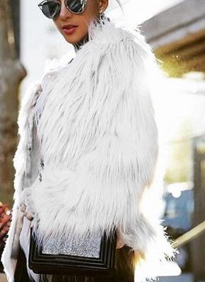 Faux Fur Coat Long Sleeve Fluffy Outerwear Short Jacket Hairy Warm Overcoat_1