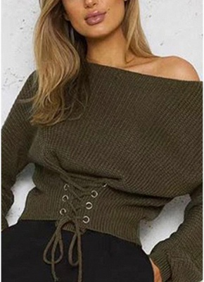 Sexy Off Shoulder Sweater Slash Neck Lace-Up Bandage Women's Pullover_9