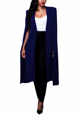 Fashion Women Cloak Cape Split Slim Office OL Suit Solid Long Blazer_3