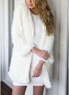 Winter Women Fluffy Faux Fur Coat Soft Lining Warm Solid Elegant Midi Outerwear Overcoat_1
