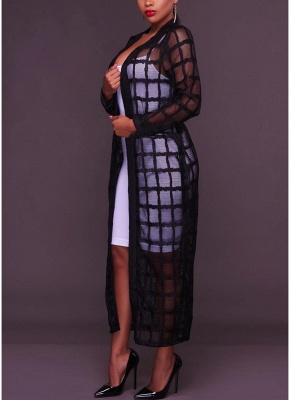 Sexy Women Mesh Maxi Crochet Lace Bandage Long Sleeves Long Cardigan_4