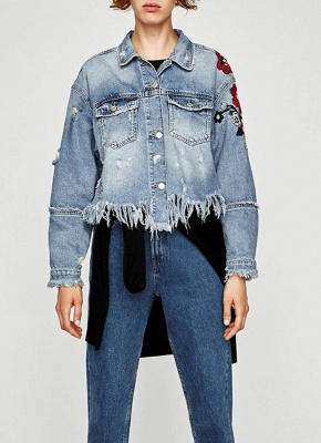Women Floral Embroidery Ripped Fringe Casual Denim Jacket_1