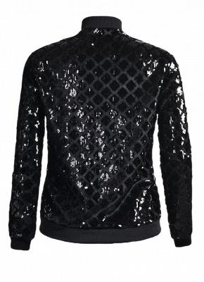 Women BlingBling Sequin Outwear Zipper Front Long Sleeve Bomber Jacket Basic Coat_5
