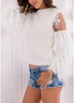 Knitted Lace Fluffy Faux Fur O-Neck Long Sleeve Sweater_8