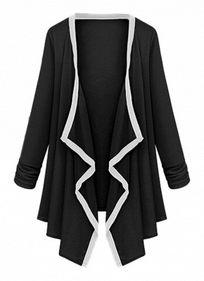 Women Long Sleeve Contrast Cardigan Open Front Asymmetric Cape Casual Poncho Coat_7