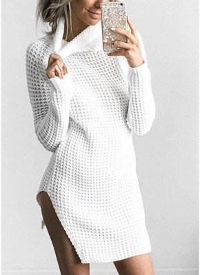 Women Casual Winter Solid Knitted Sweater Dress_1